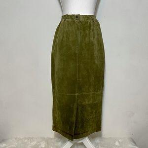 Cambridge Dry Goods VTG Green Leather Midi Skirt 4